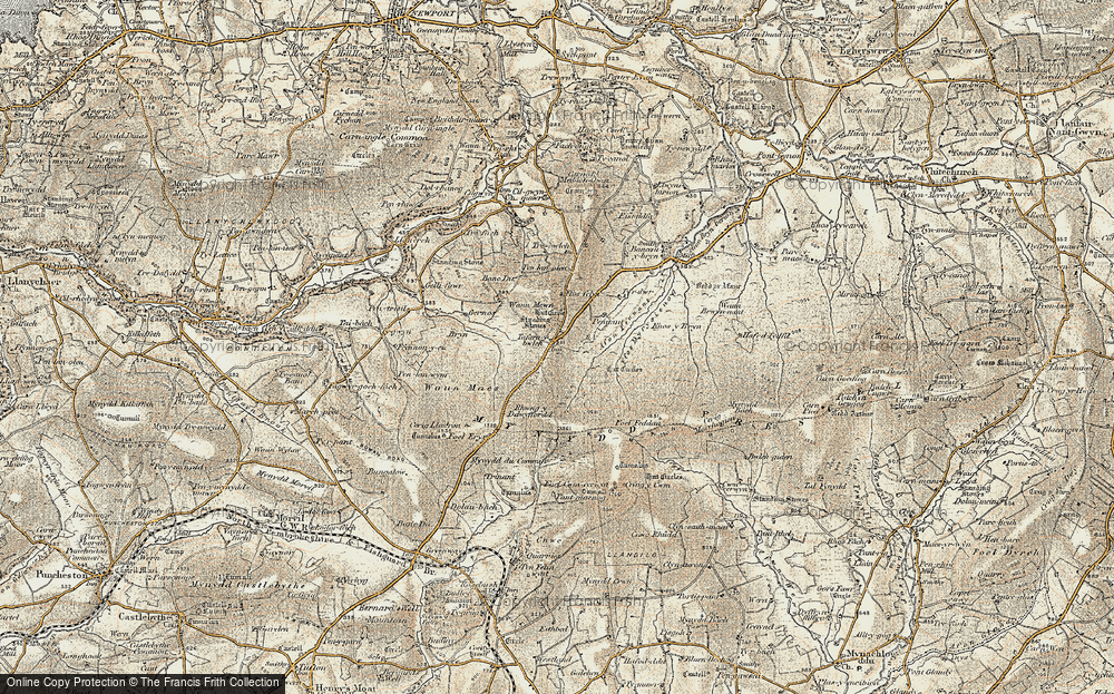 Old Map of Historic Map covering Afon Pennant in 1901-1912