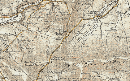 Old map of Afon Pennant in 1901-1912