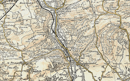 Old map of Taffs Well in 1899-1900