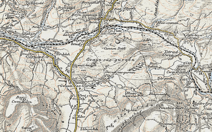 Old map of Tairgwaith in 1900-1901