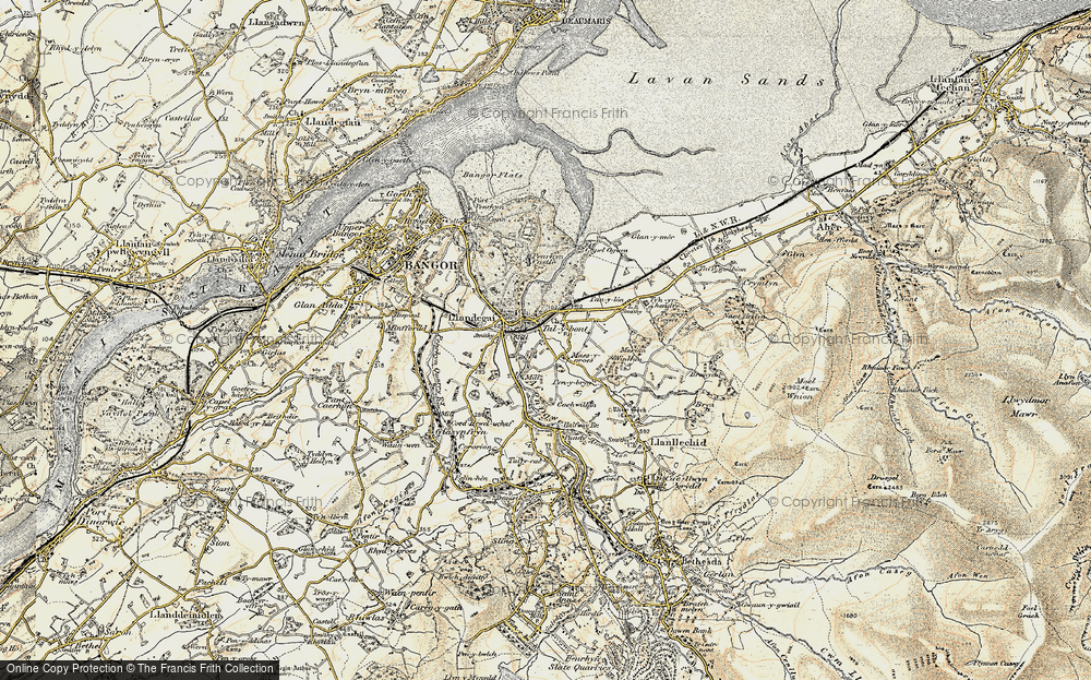 Old Map of Historic Map covering Aber-Ogwen in 1903-1910