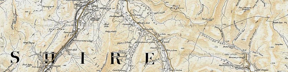 Old map of Afon Fechan in 1903