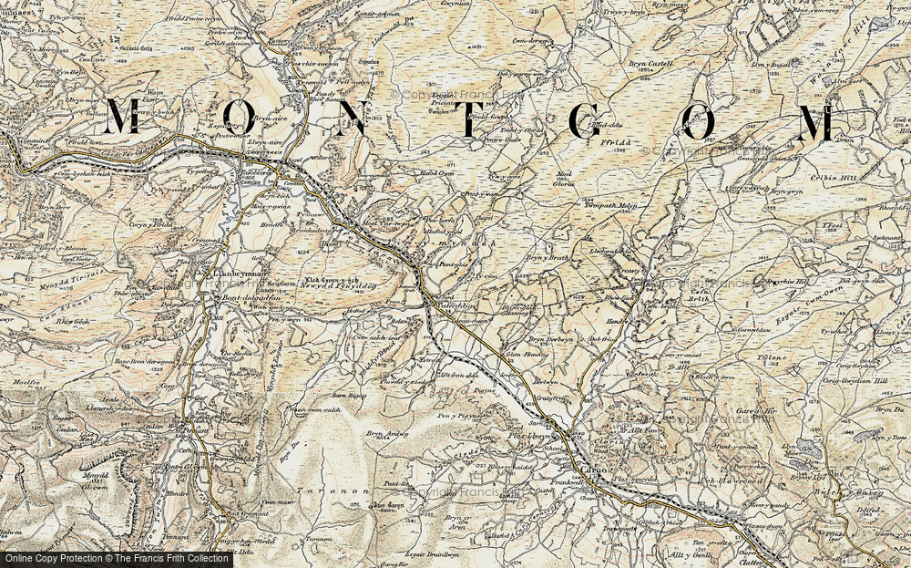 Old Map of Historic Map covering Afon Tyn-y-rhos in 1902-1903