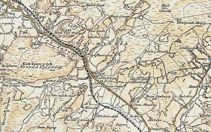 Old map of Afon Tyn-y-rhos in 1902-1903