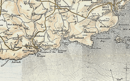 Old map of Talland Bay in 1900