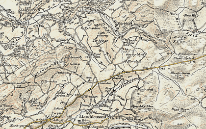 Old map of Afon Llechach in 1900-1901