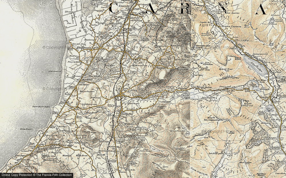 Old Map of Historic Map covering Afon Llyfni in 1903