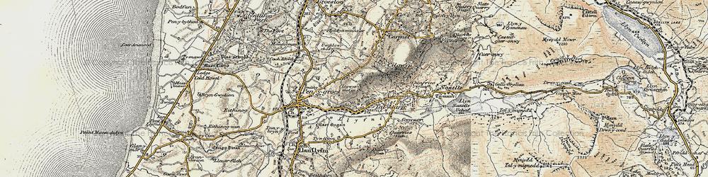 Old map of Afon Llyfni in 1903