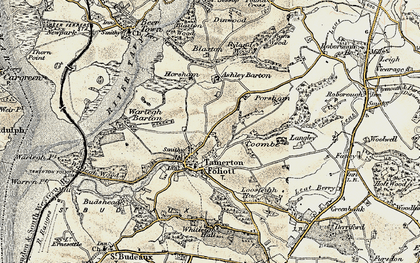 Old map of Ashleigh Barton in 1899-1900