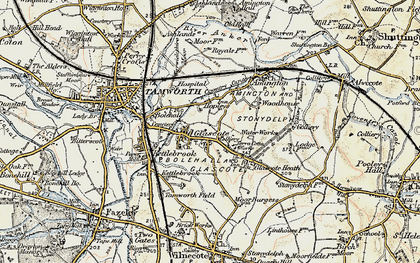 Old map of Tamworth in 1901-1902