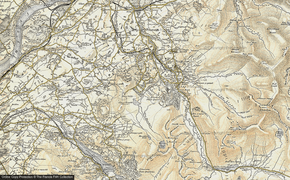 Old Map of Historic Map covering Afon Marchlyn-mawr in 1903-1910