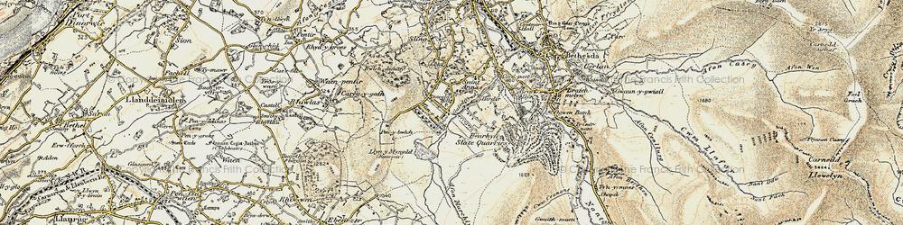 Old map of Afon Marchlyn-mawr in 1903-1910
