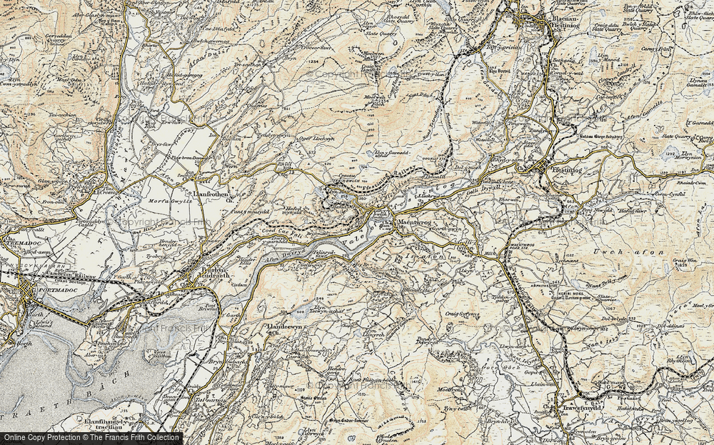 Old Map of Historic Map covering Afon Dwyryd in 1903