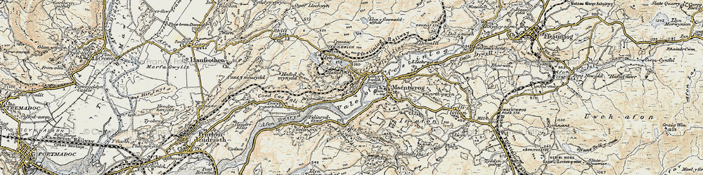 Old map of Tan-y-Bwlch in 1903