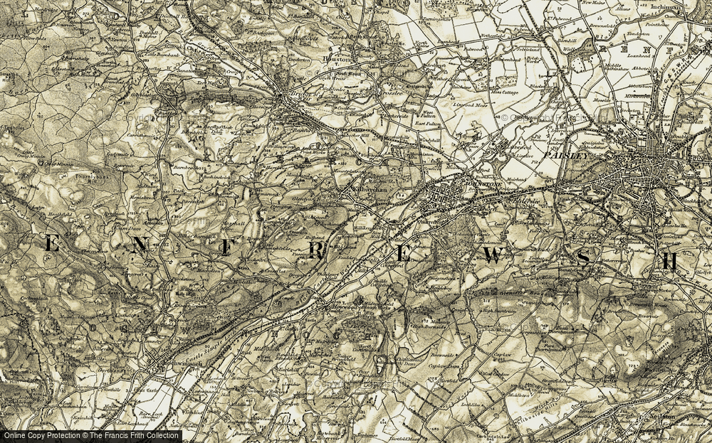 Old Map of Historic Map covering Abbanoy in 1905-1906