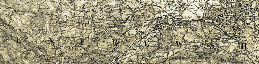 Old map of Abbanoy in 1905-1906