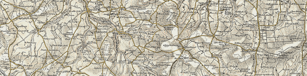 Old map of Afon Barddu in 1901