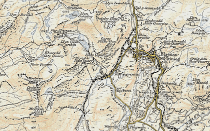 Old map of Afon Stwlan in 1903
