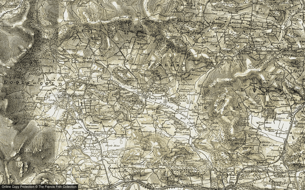 Old Map of Historic Map covering Alastrean Ho in 1908-1909