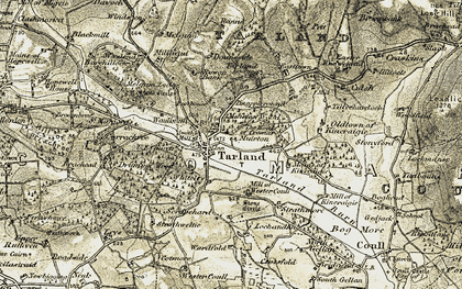 Old map of Tarland in 1908-1909