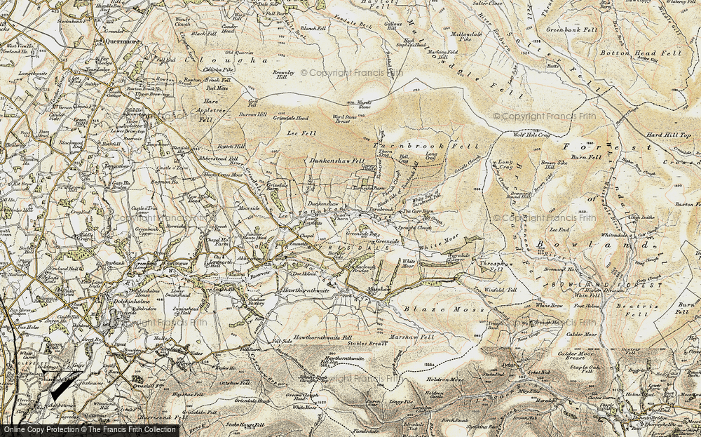 Old Map of Historic Map covering White Side of Tarnbrook Fell in 1903-1904