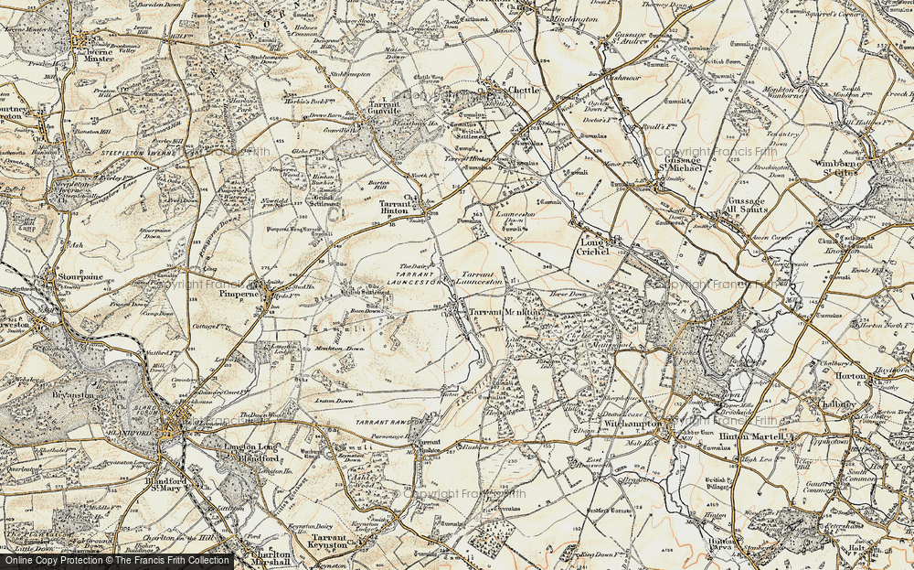 Old Map of Historic Map covering Launceston Down in 1897-1909