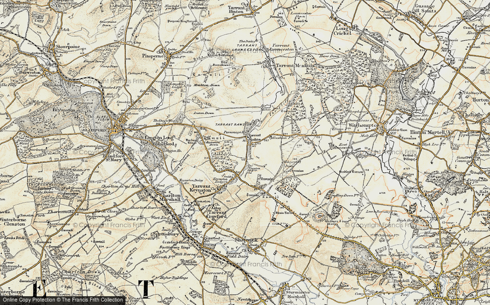Old Map of Historic Map covering Ashley Wood in 1897-1909