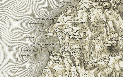 Old map of Bàgh Tharsgabhaig in 1906-1908