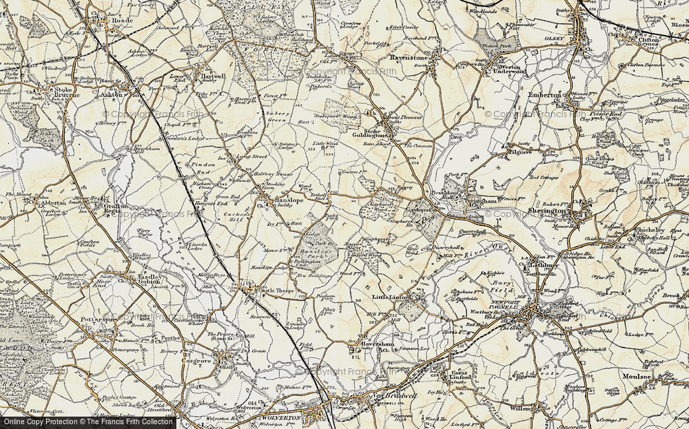 Old Map of Tathall End, 1898-1901 in 1898-1901
