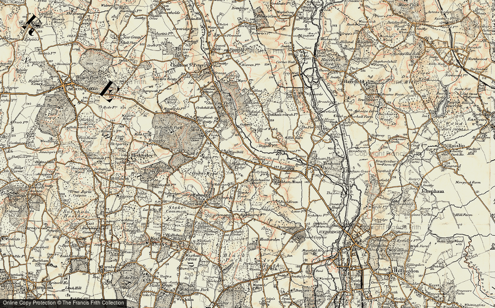 Old Map of Historic Map covering Alderbourne Manor in 1897-1898