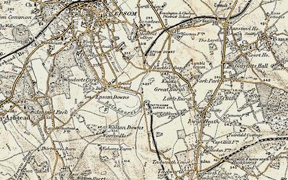 Old map of Tattenham Corner in 1897-1909