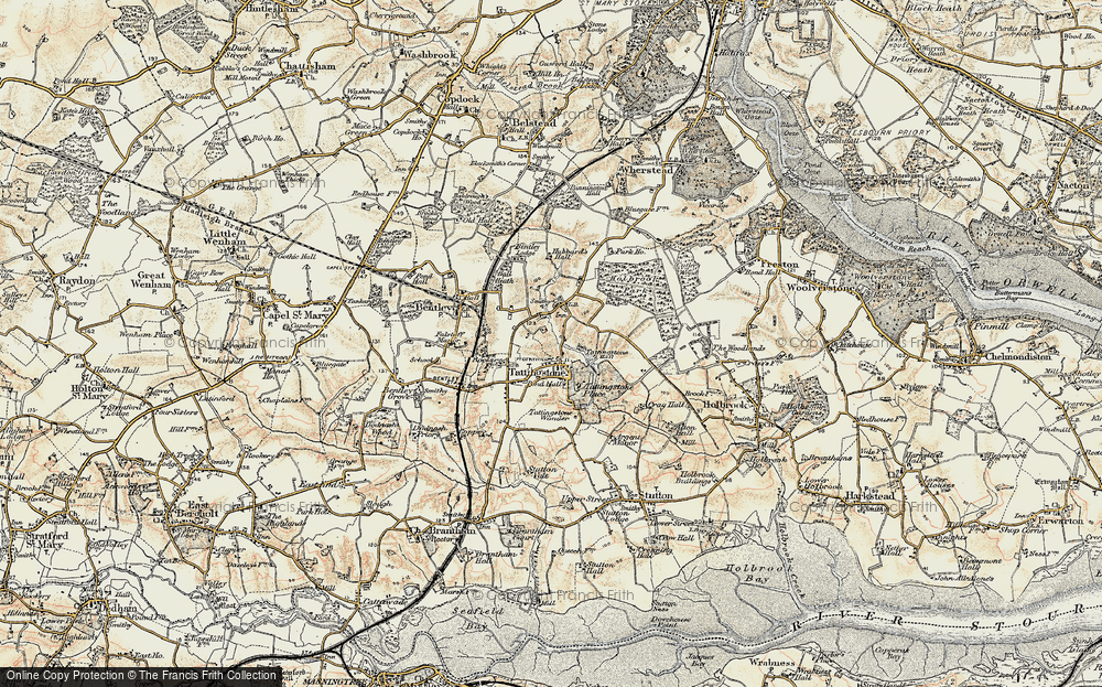 Old Map of Historic Map covering Alton Water (Reservoir) in 1898-1901
