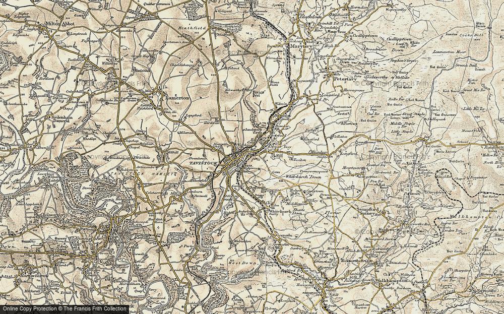 Old Map of Tavistock, 1899-1900 in 1899-1900