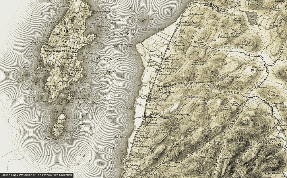 Old Map of Historic Map covering Lenaig in 1905