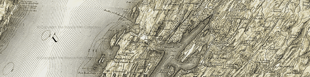 Old map of Tayvallich in 1906-1907