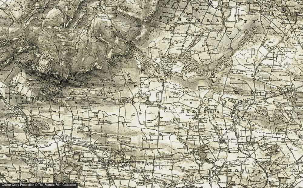 Old Map of Historic Map covering Balcalk in 1907-1908