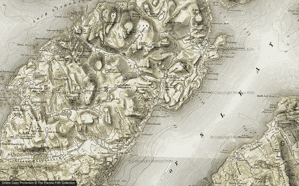 Old Map of Historic Map covering Allt Leth-shithein in 1906-1908