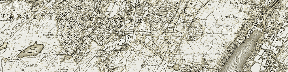 Old map of Allt Lòn a' Ghiubhais in 1908-1912