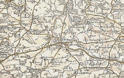 Old map of Winslakefoot in 1899-1900