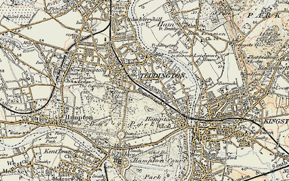Old map of Teddington in 1897-1909