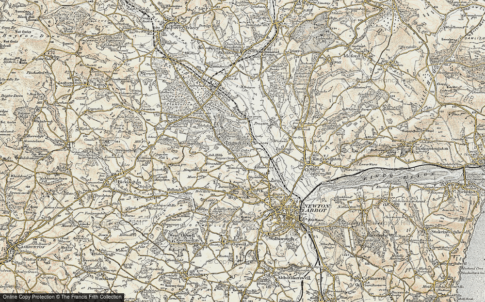 Old Map of Teigngrace, 1899 in 1899