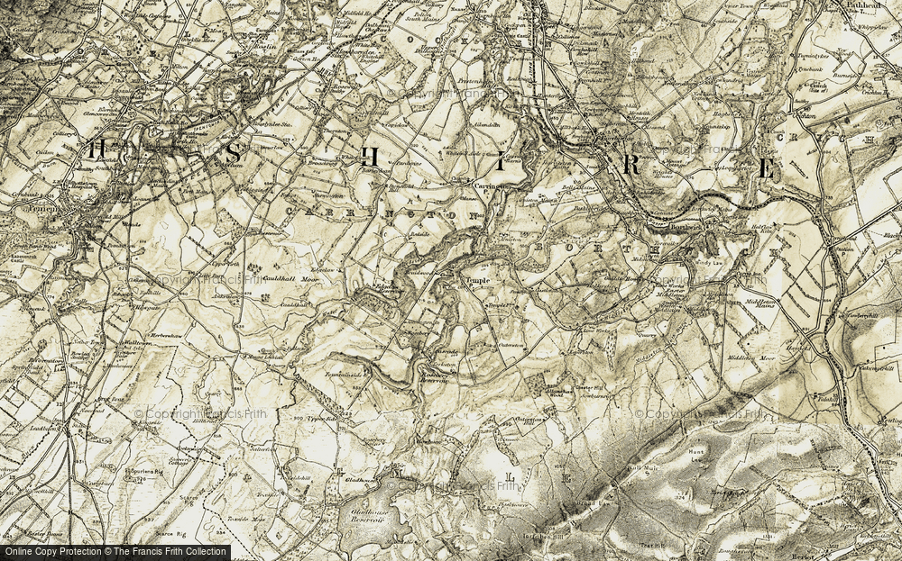 Old Map of Historic Map covering Allanshaw Wood in 1903-1904
