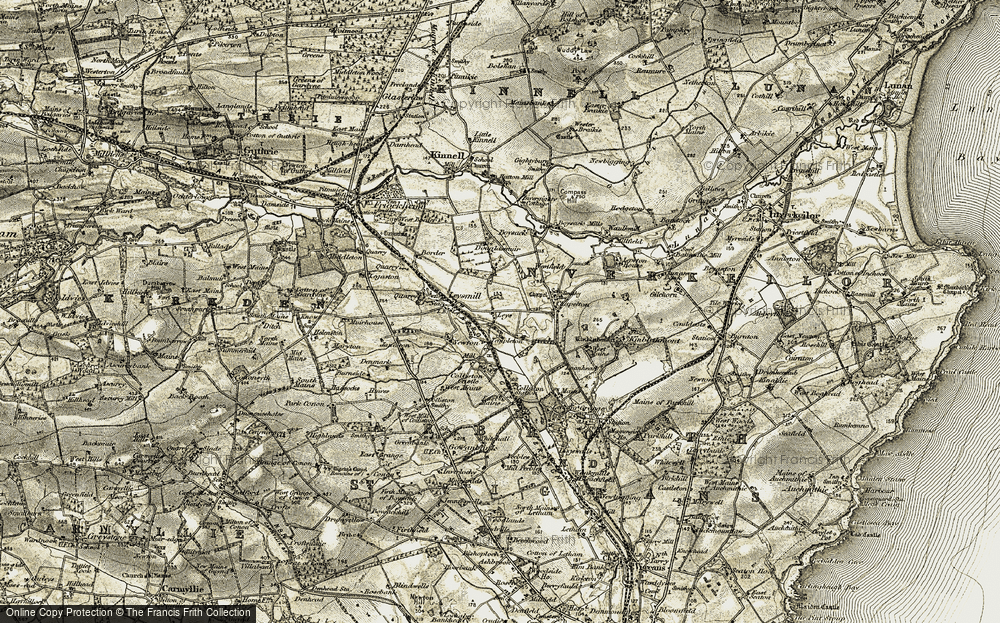 Old Map of Historic Map covering Leys of Boysack in 1907-1908