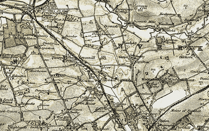 Old map of Leys of Boysack in 1907-1908