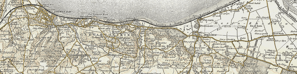 Old map of Abergele Roads in 1902-1903