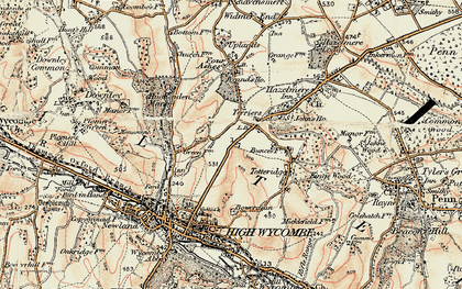 Old map of Terriers in 1897-1898