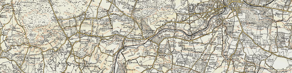 Old map of Teston in 1897-1898
