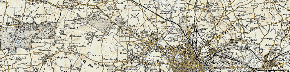 Old map of Tettenhall in 1902