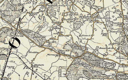Old map of Tewin in 1898-1899