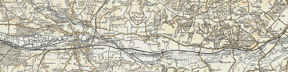 Old map of Thatcham in 1897-1900